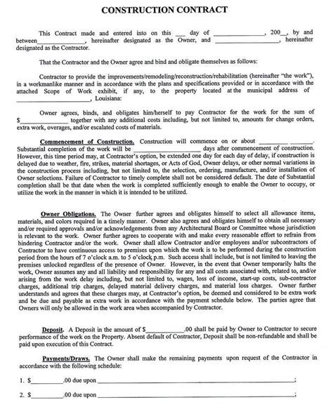 Construction Pany Contract Template Dvjixyt   Bailbonds LA