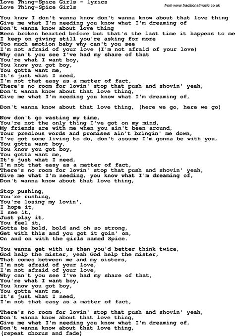 lyrics spice girl wannabe love song lyrics for love thing spice girls
