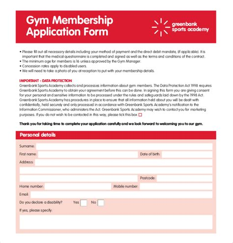 membership form template pdf 15 membership application templates free sle
