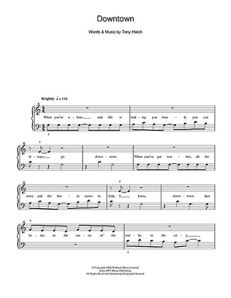 printable downtown lyrics downtown sheet music by petula clark 5 finger piano 104702