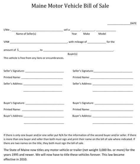 download maine bill of sale form for free formtemplate