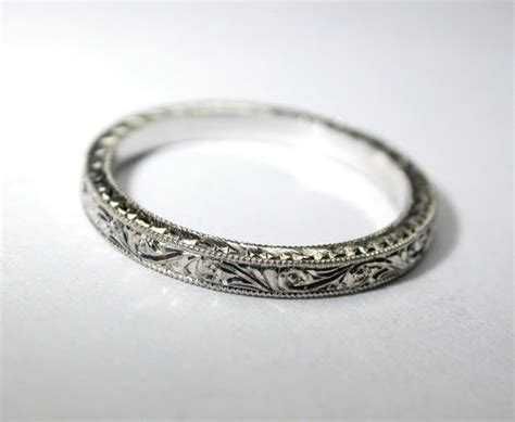 engraved platinum wedding ring band 2 by