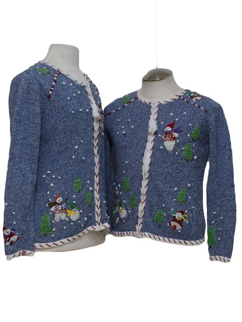 womens pair of matching ugly christmas sweaters no label
