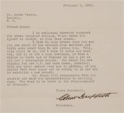 Offer Letter Griffith Lot Detail 1933 Clark Griffith Signed Document To Monte Weaver On Washington American League