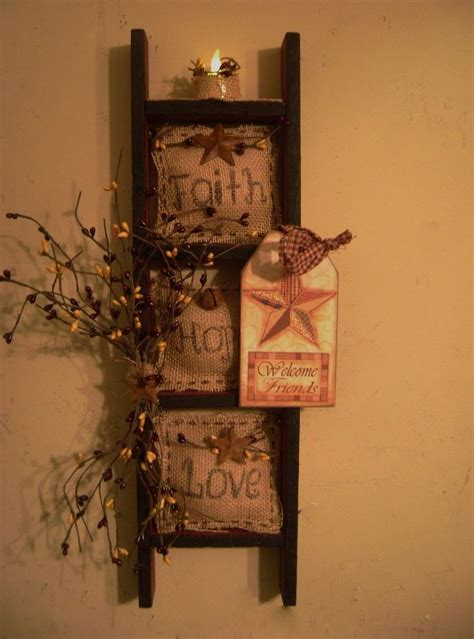 primitive ladder decor