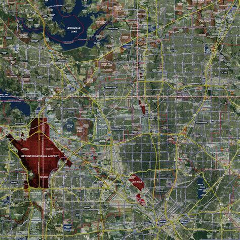 dallas maps dallas fort worth standard rolled aerial map