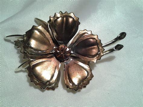 Choco Flower Brooch vintage gold estate chocolate brown topaz enamel rhinestone flower brooch pin