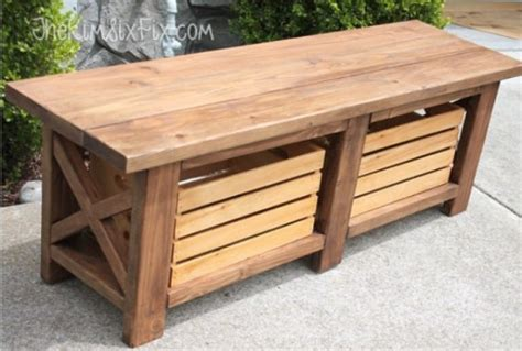 diy x leg bench diy x leg wooden bench with crate storage shelterness