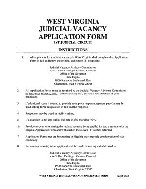 West Virginia Judicial Search Judicial Vacancy Advisory Commission Fill Printable Fillable Blank Pdffiller