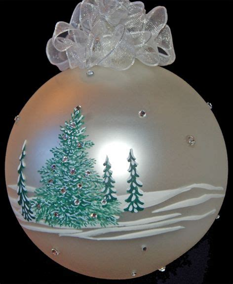 hand painted snow covered tree ornament painted