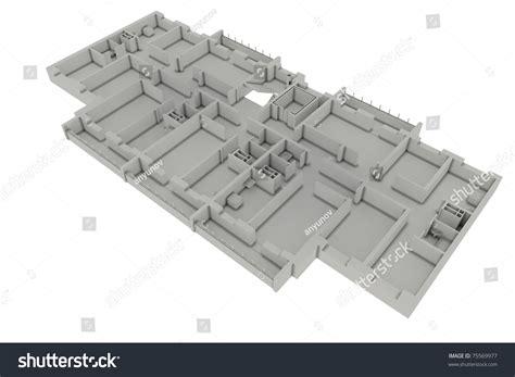 white floor plan floor plan house isolated on white 3d render stock photo