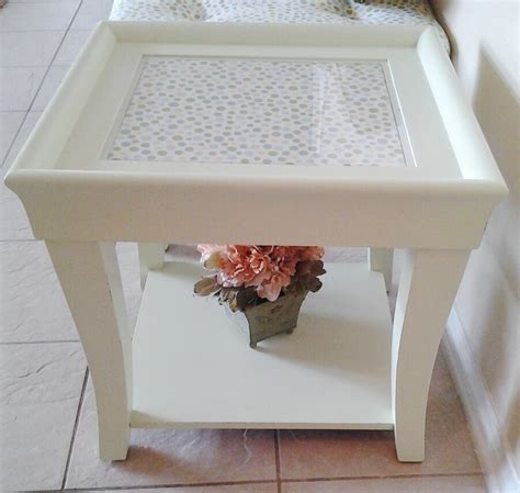 end coffee table makeover upholstered makeover painted