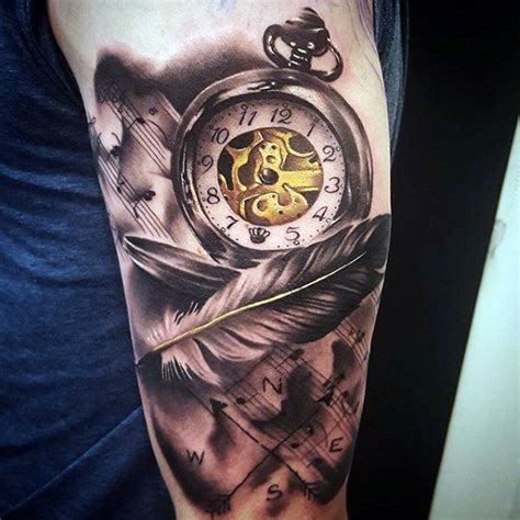 pocket watch tattoos for men 100 pocket designs for cool timepieces