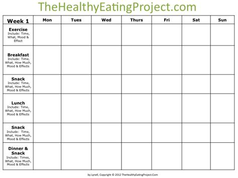 Keeping A Food Diary Template by Why Keep A Food Diary