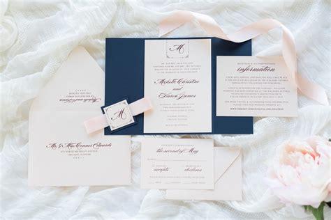 navy blue ribbon wedding invitations navy blue blush shimmer and blush ribbon wedding invitation suite second city stationery