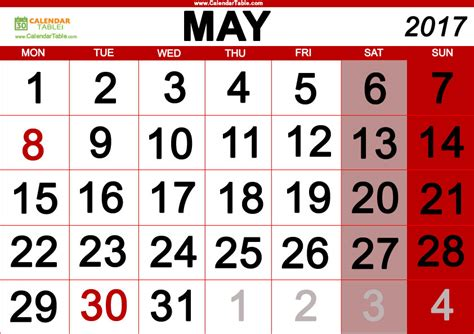 may 2017 days of the week and calendar calendar table