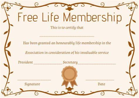 life membership certificate templates free membership certificate template free