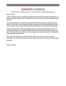 Cover Letter For Secretarial Position by Best Cover Letter Exles Livecareer