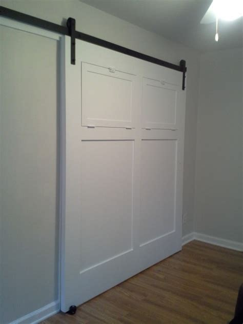 white sliding interior barn door contemporary living