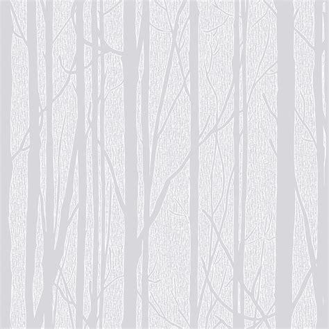 Craig & Rose White Trees Paintable Wallpaper   Departments