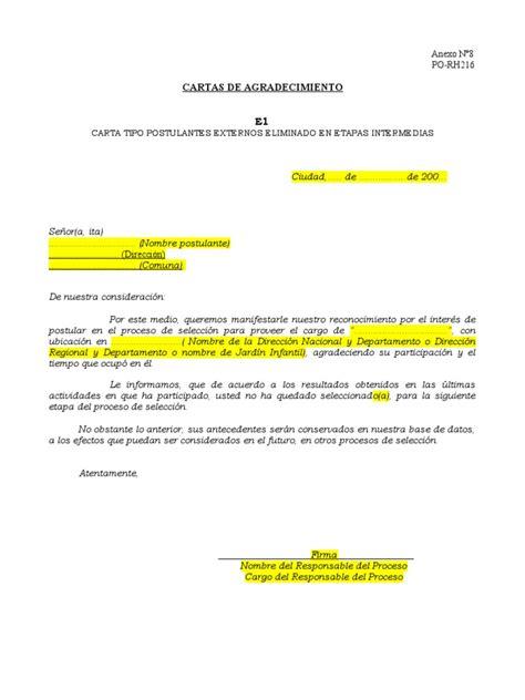 carta rechazo candidatos no seleccionados carta proceso seleccion