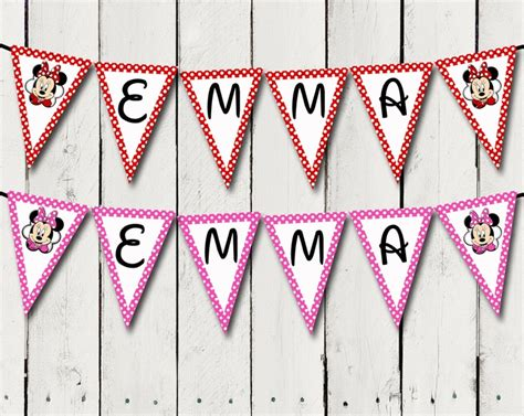 printable birthday banner with name pink or red minnie mouse banner with birthday girls name