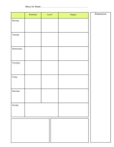 7 day menu planner template work week day template calendar template 2016