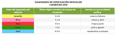 costo verificacin 2016 nuevo calendario de verificaci 243 n vehicular 2016 vision