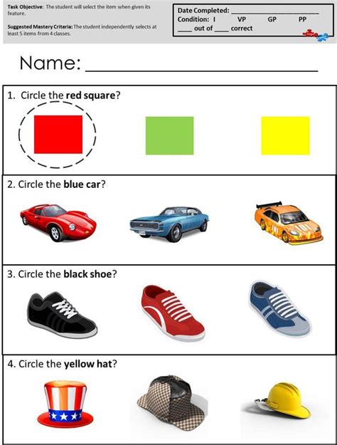Free Printable Worksheets For Autistic Children by Free Printables For Receptive Language Skills Available