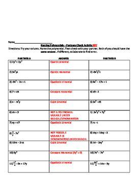 Naming Polynomials Worksheet
