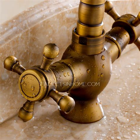 vintage antique brass 2 handle kitchen faucets brushed