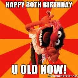 Happy 30th Birthday Meme - happy 30th birthday u old now animal muppet meme