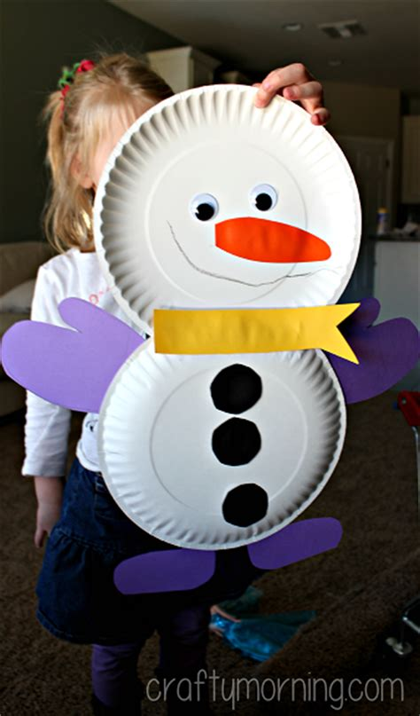 diy snowmen paper plate winter craft for kids crafty