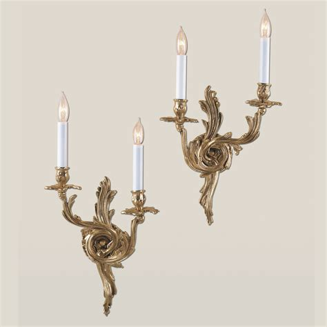Antique Wall Sconces jvi designs 651 rococo style 19 inch antique brass 2 candle wall sconce set jvi 651 05