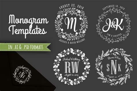 Wedding Fonts Adobe Photoshop by 4 Monogram Templates Ai And Psd Templates On Creative Market