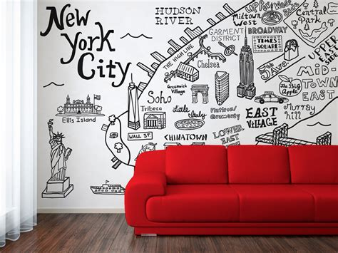 new york city wall sticker lordon design new york city map illustration and wall decal