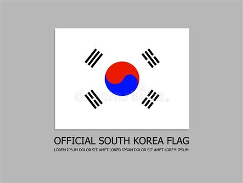 south korea flag official symbol isolated  light transparent background stock vector