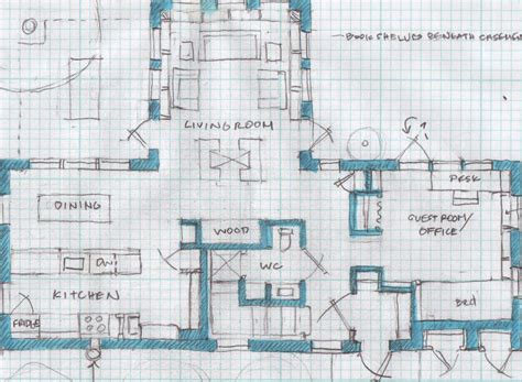 t house with central fireplace blueprinting