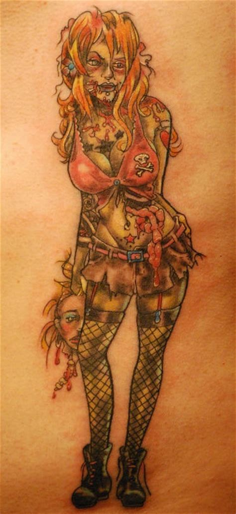 zombie tattoo gallery zombie girl with head in hand tattooimages biz