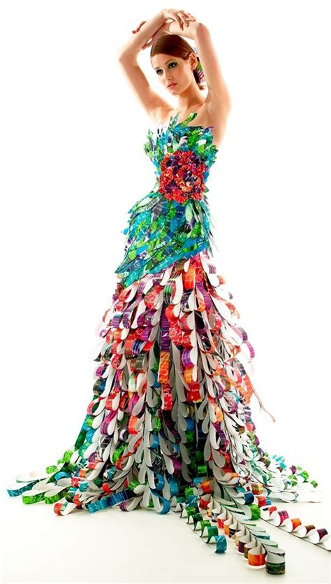 design real clothes recycled streamer dress world 4 fashion show