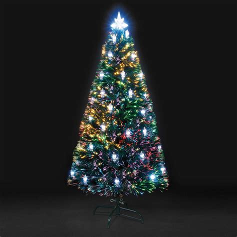 pre lit christmas tree asda black rainbow led fibre