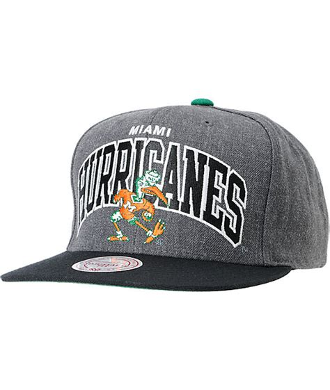 ncaa snapback hats c 8 ncaa mitchell and ness u of miami black grey snapback hat