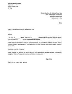 Modèle De Lettre Pour Un Notaire Exemple Gratuit De Lettre Demande Compte D 233 Taill 233 Frais 224 Notaire