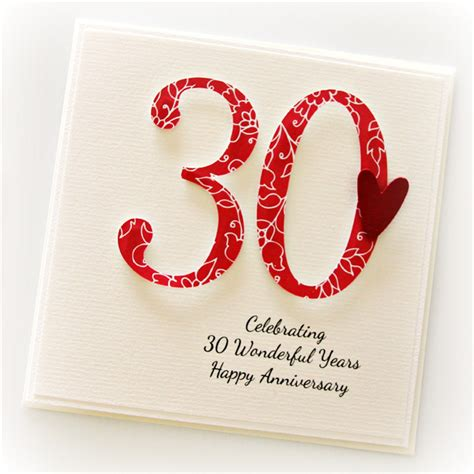 wedding anniversary cards 30 years 30th anniversary custom card personalised wedding husband