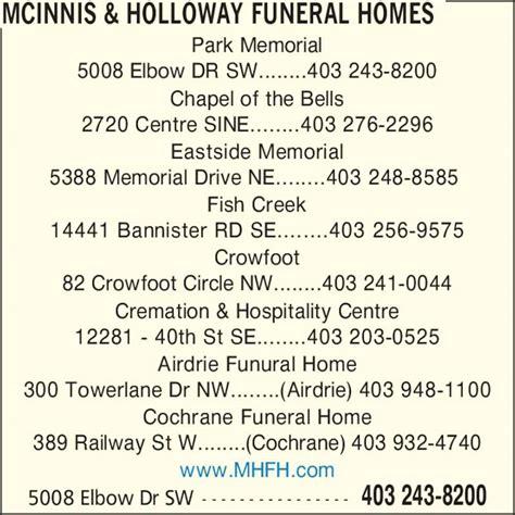 mcinnis holloway funeral homes calgary ab 5008