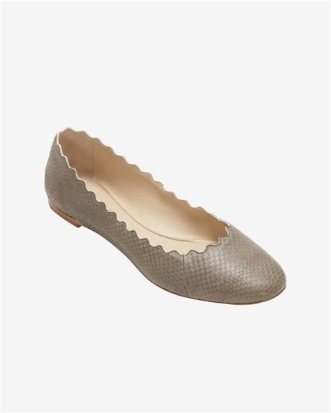 unaolia earrings aldo chlo 233 scalloped edge ayers snakeskin ballet flat olive in