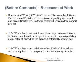 procurement statement of work template project procurement management ppt