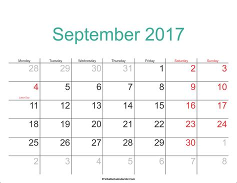 September Calendar September 2017 Calendar Printable With Holidays Pdf And Jpg