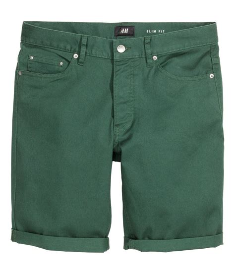men s distressed stretch twill shorts 5 pocket shorts in stretch cotton twill h m for men h