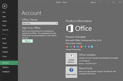 Current Office Version Office 2016 Update Black Theme Now